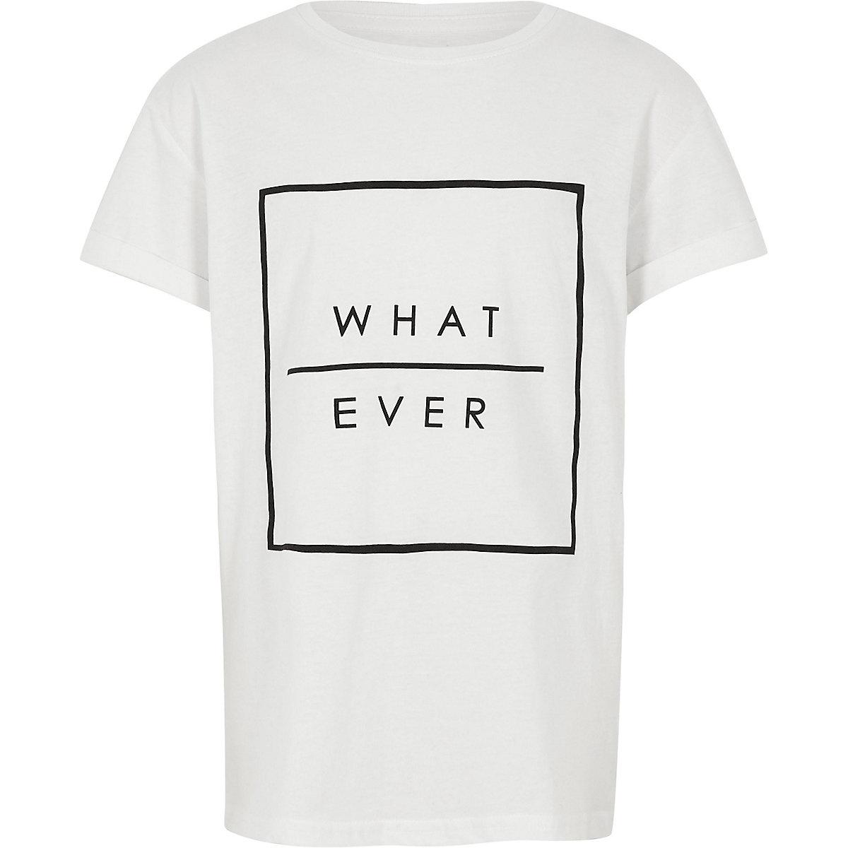 Boys white 'what ever' print T-shirt