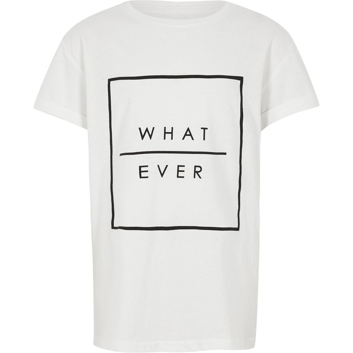 Boys white 'what ever' print T-shirt