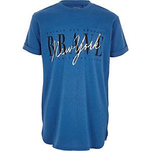 T-shirt bleu «New York» à poche pour garçon
