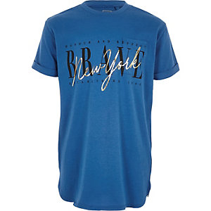 Blauw T-shirt met 'New York'-print en zak voor jongens