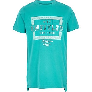 Boys turquoise 'entitled' T-shirt