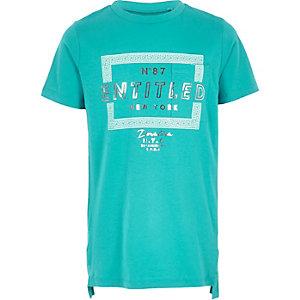 Turquoise T-shirt met Entitled-print voor jongens