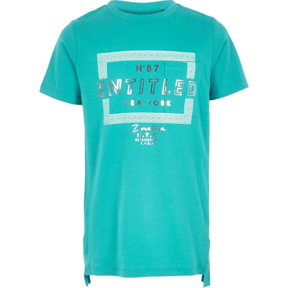 Boys turquoise 'entitled' T-shirt