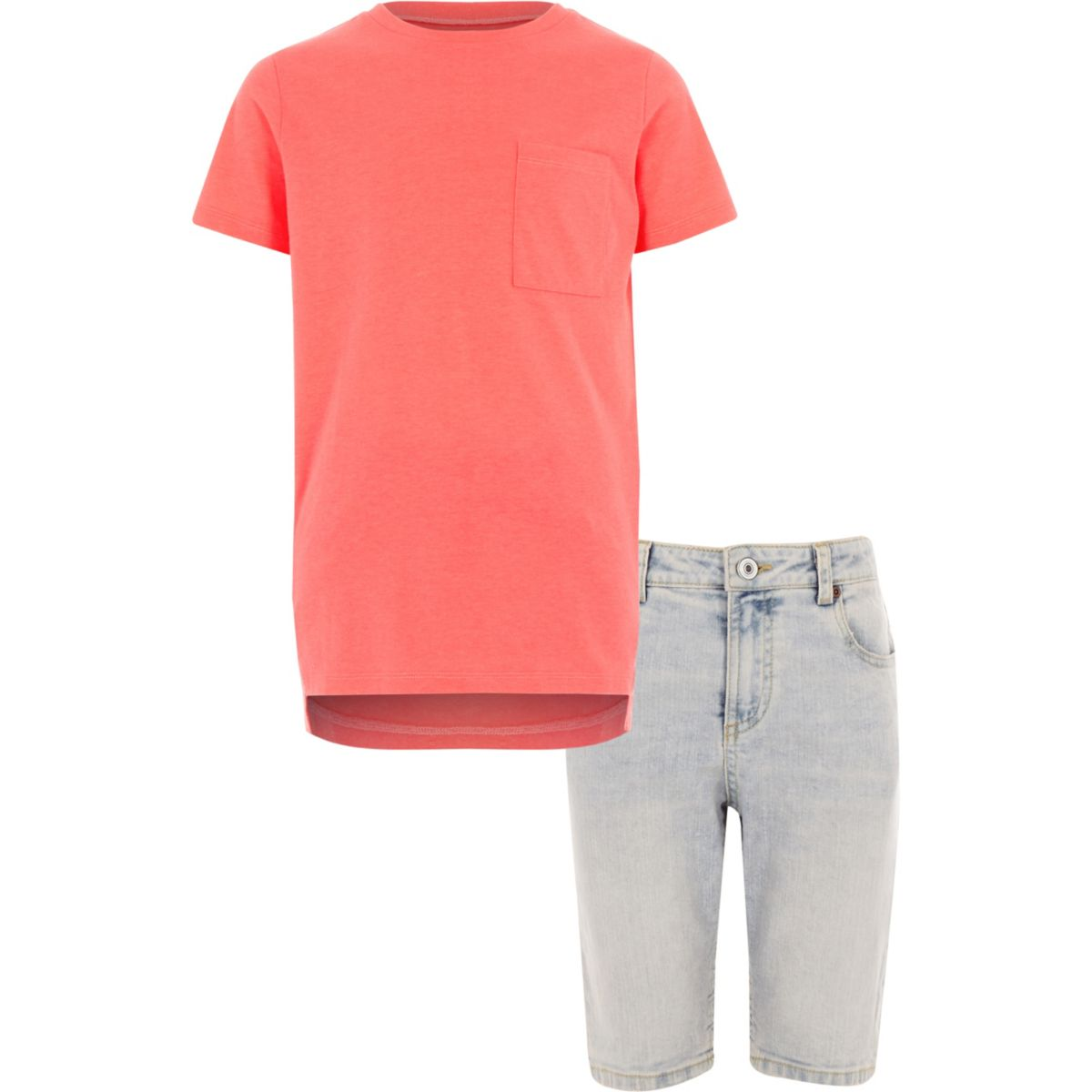 Boys coral T-shirt and denim shorts outfit