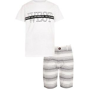 Ensemble t-shirt et short blanc à bande pour garçon
