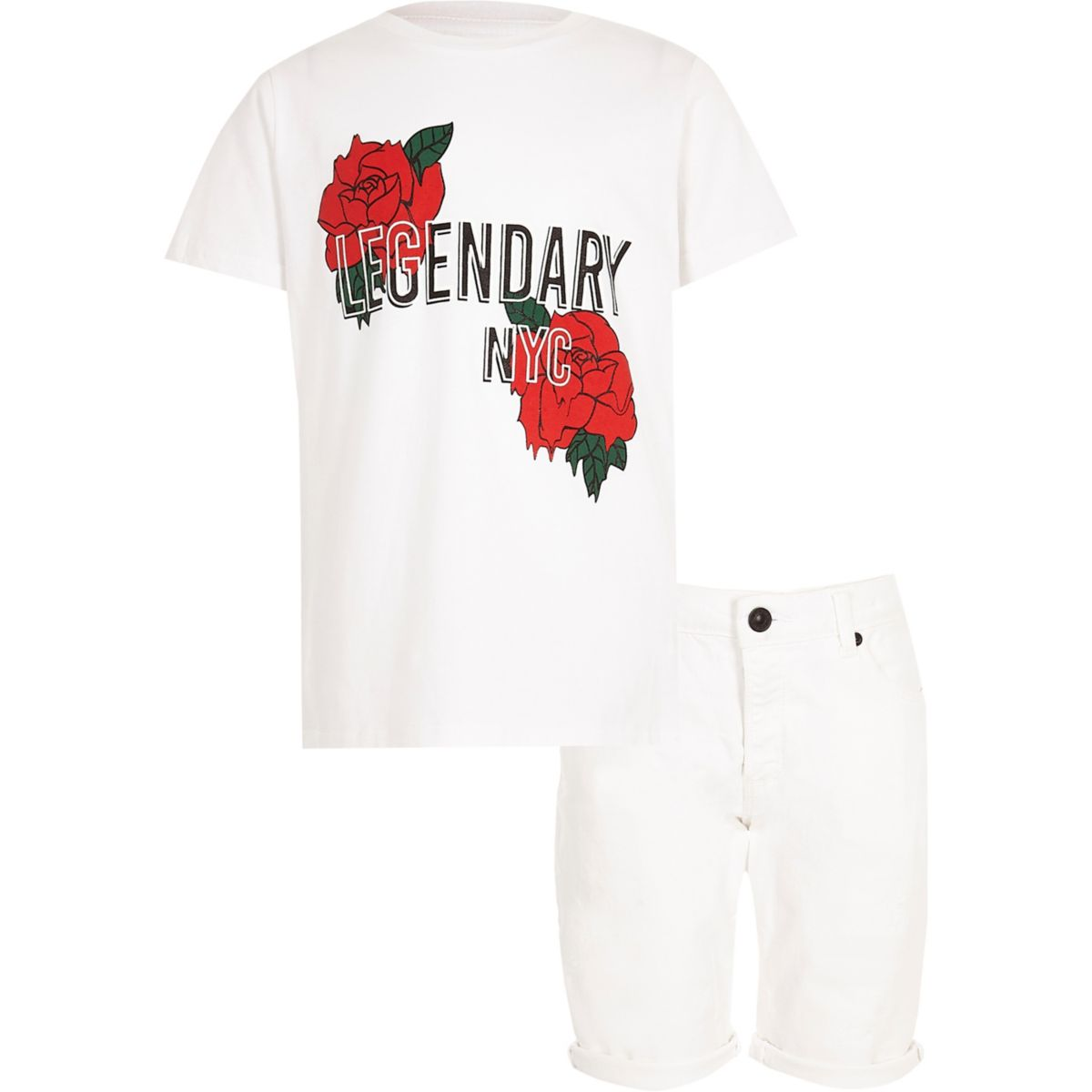 Boys white rose T-shirt and shorts outfit