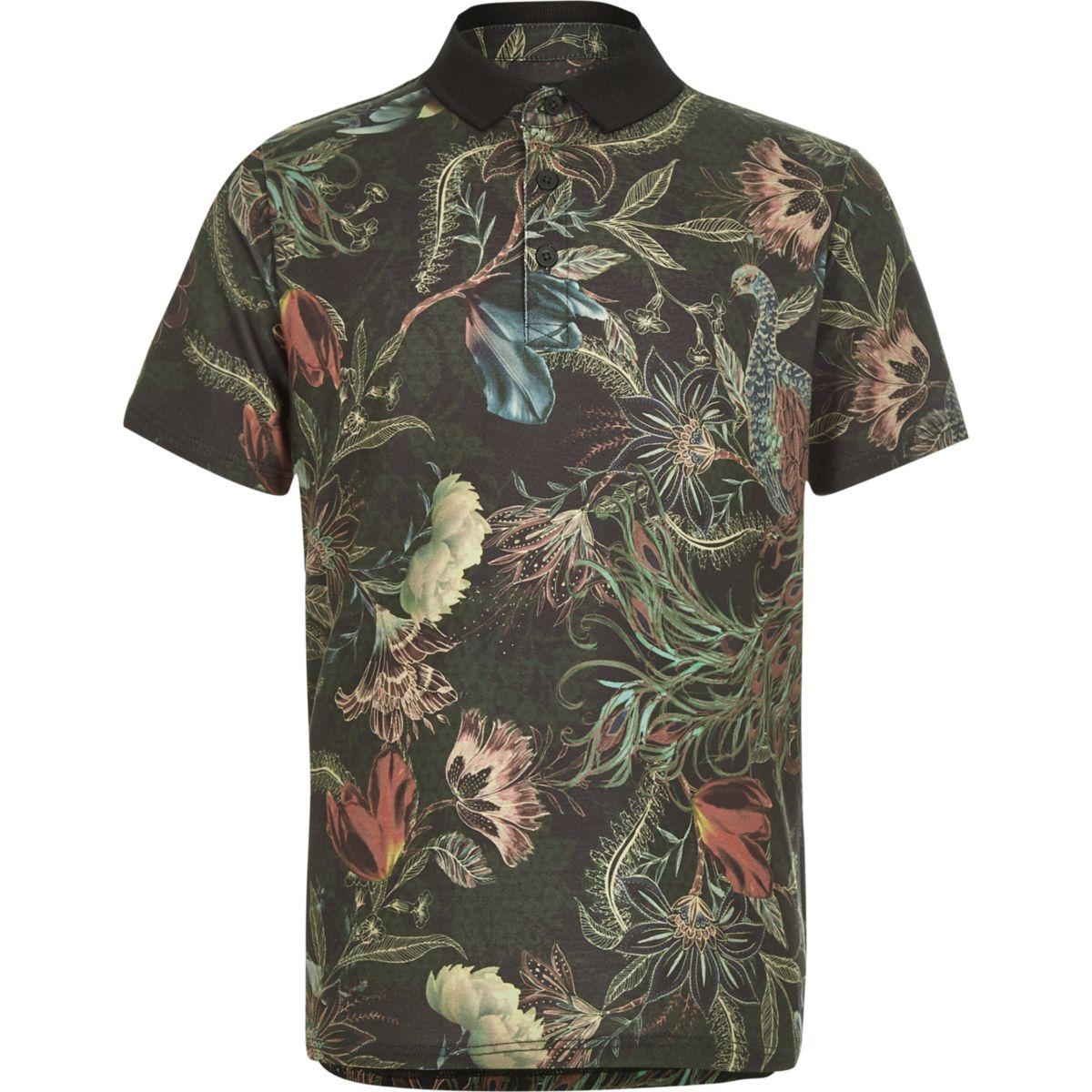 Boys khaki print polo shirt