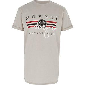 Kiezelkleurig T-shirt met 'NYC'-print voor jongens
