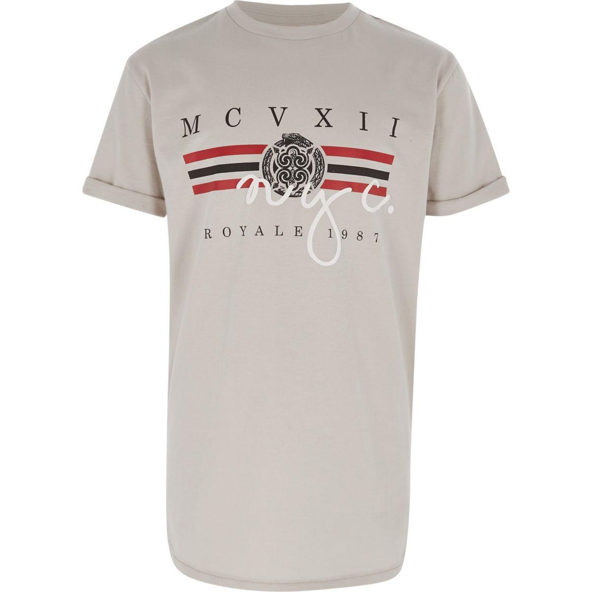 Boys stone 'NYC' print T-shirt
