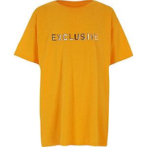Gele oversized top met 'Exclusive'-print  voor jongens