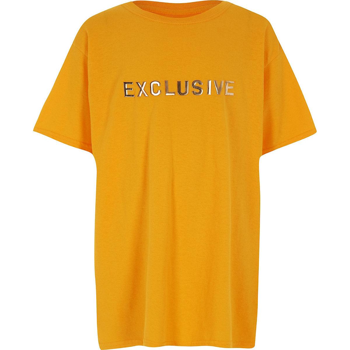 Top oversize à inscription « Exclusive » jaune garçon
