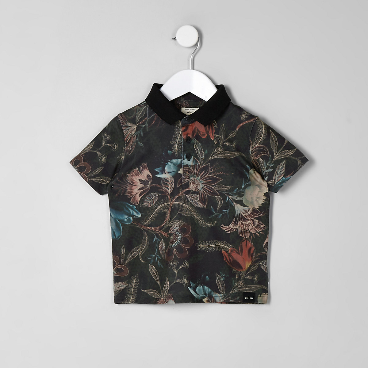 Mini boys khaki print polo shirt