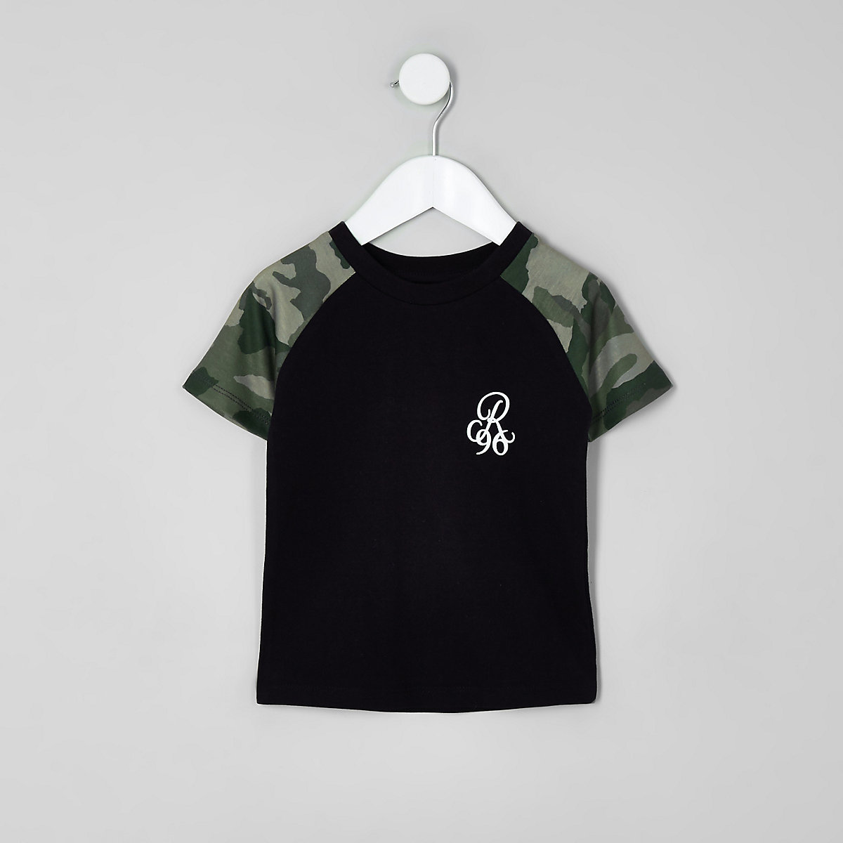 Mini boys black camo print raglan T-shirt