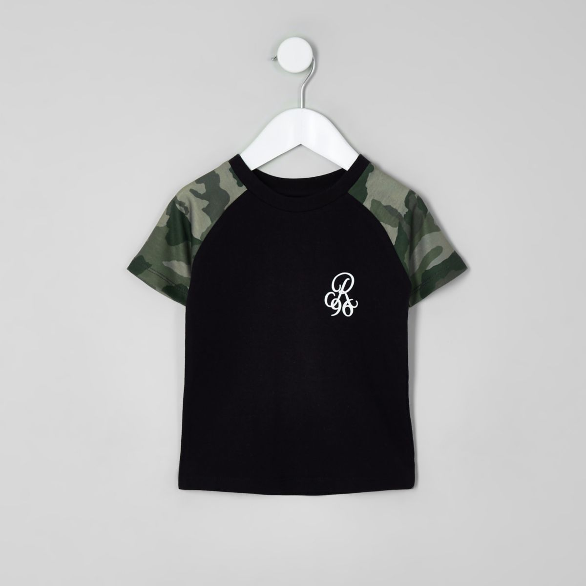 Mini boys black camo print raglan T-shirt