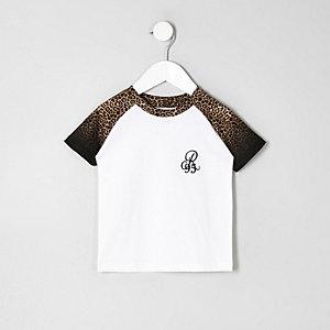 Mini - Zwart T-shirt met luipaardprint en raglanmouwen voor jongens