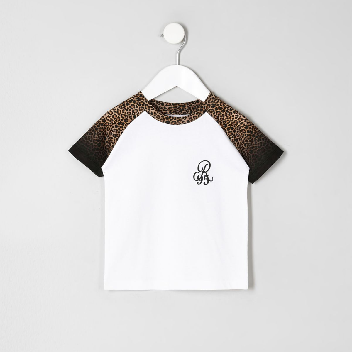 Mini boys black leopard print raglan T-shirt