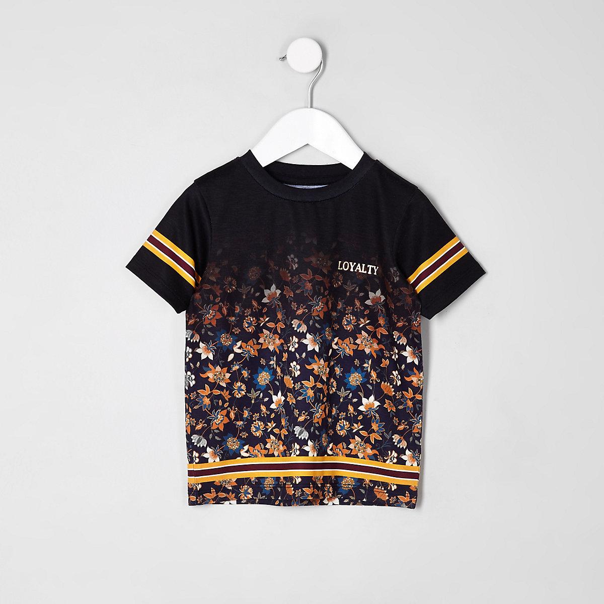 T-shirt délavé noir à fleurs mini garçon