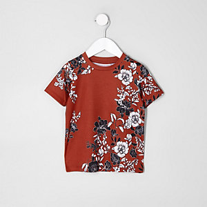 Mini boys dark orange floral T-shirt