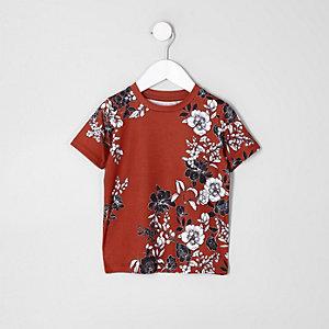 Mini - Donkeroranje T-shirt met bloemenprint voor jongens