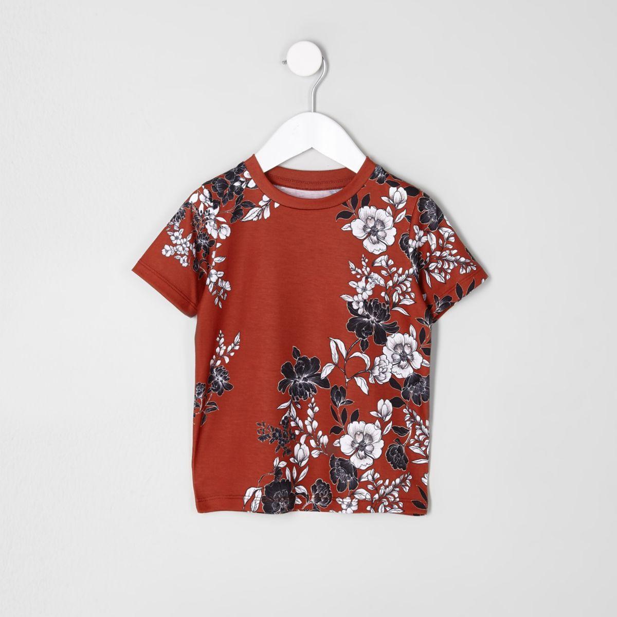 Mini boys dark orange floral T-shirt