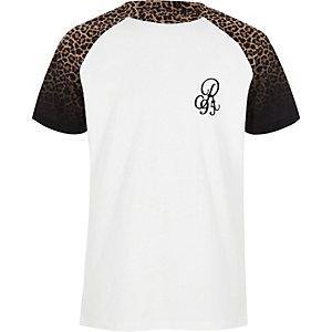 Schwarzes Raglan-T-Shirt mit Leopardenprint