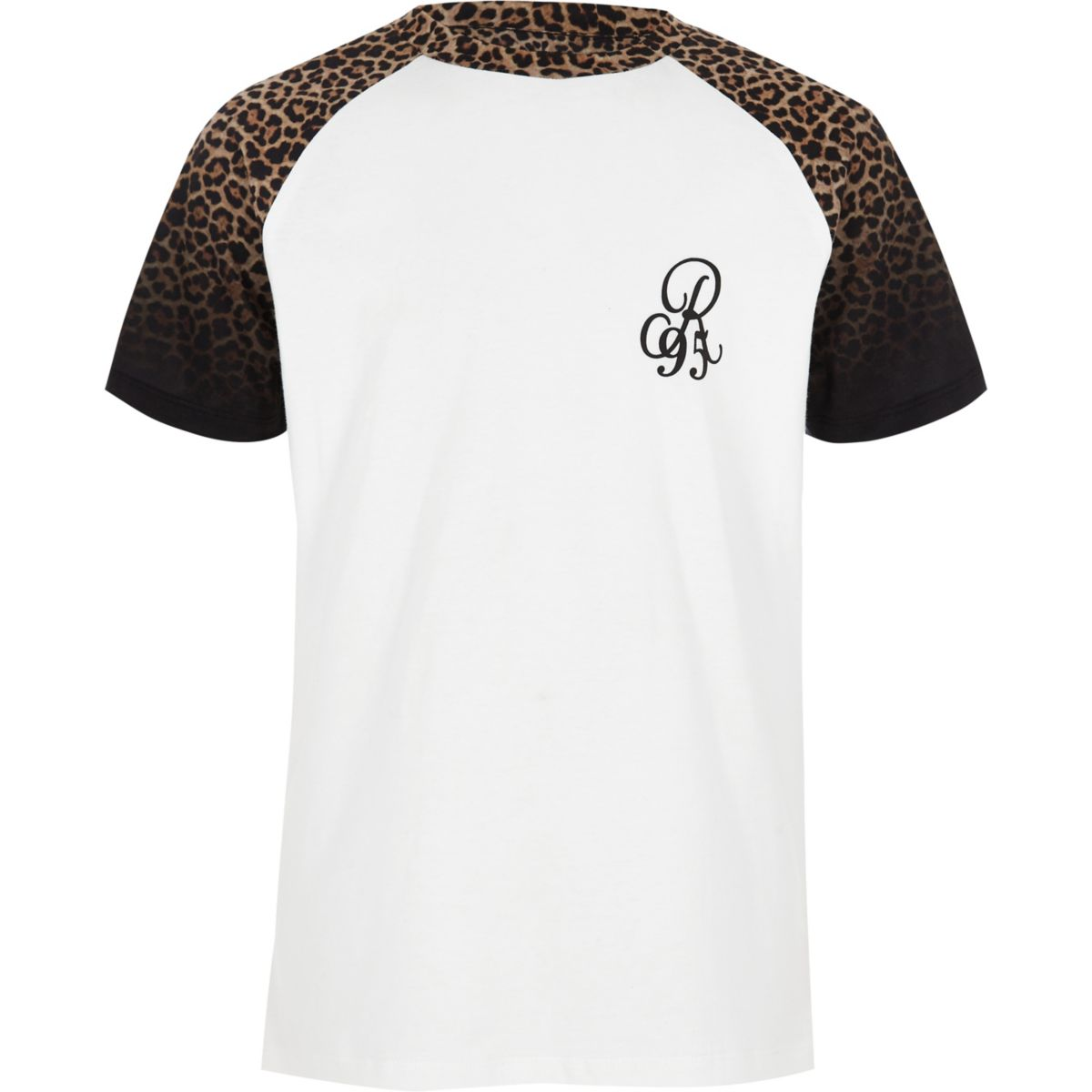 Boys black leopard print raglan T-shirt