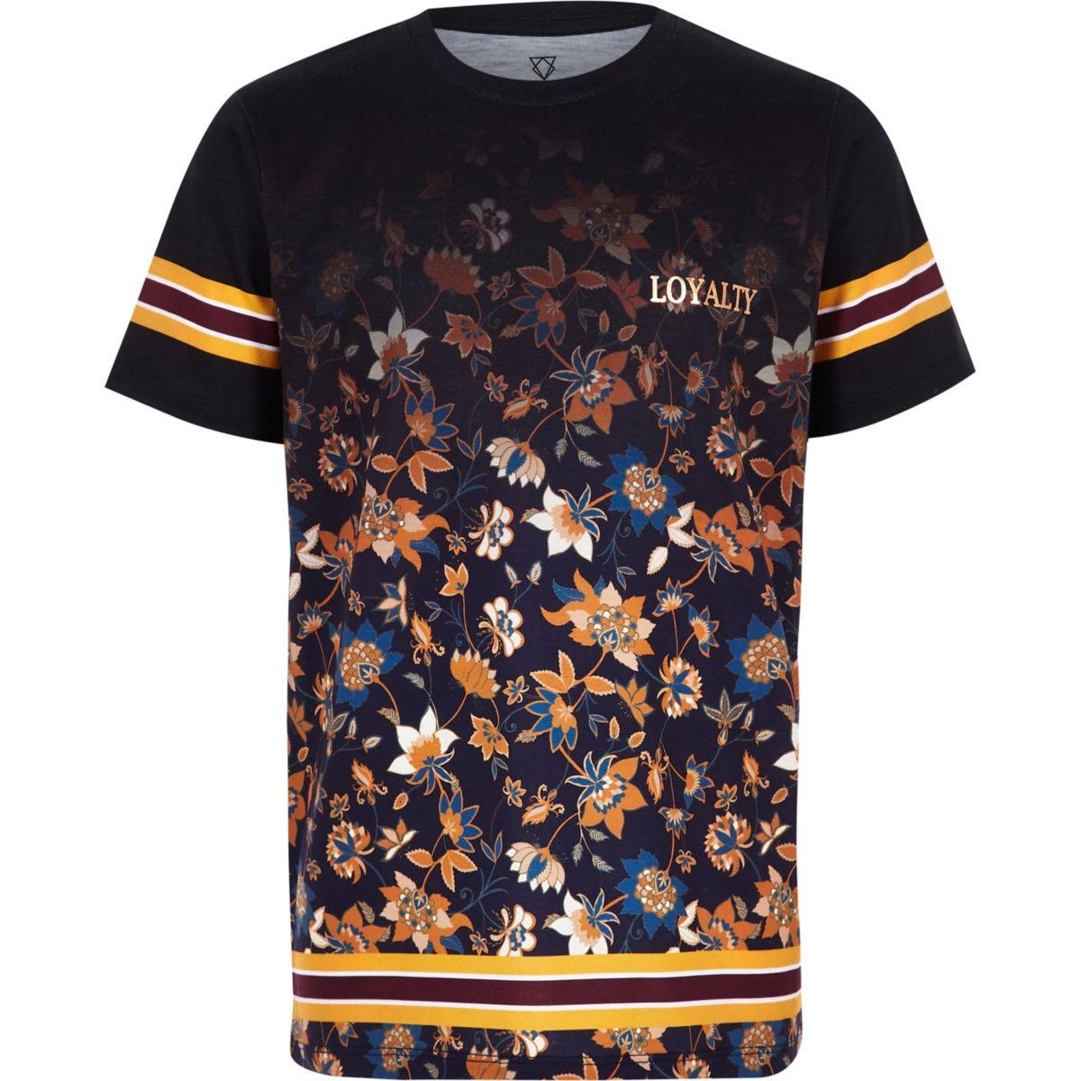 Boys black floral fade T-shirt