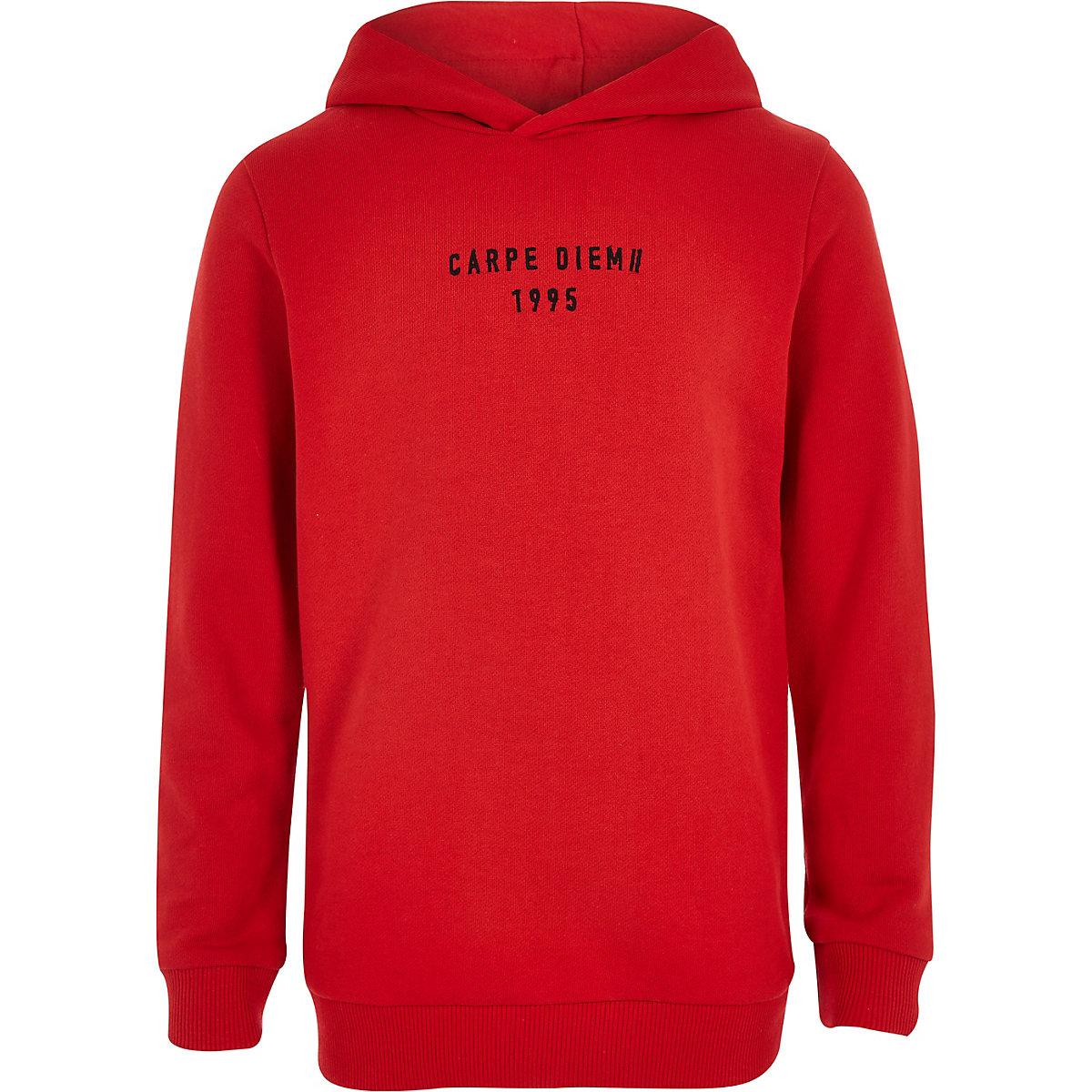 Boys red 'carpe diem' taped hoodie