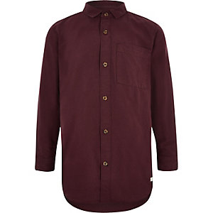 Boys dark red Oxford shirt