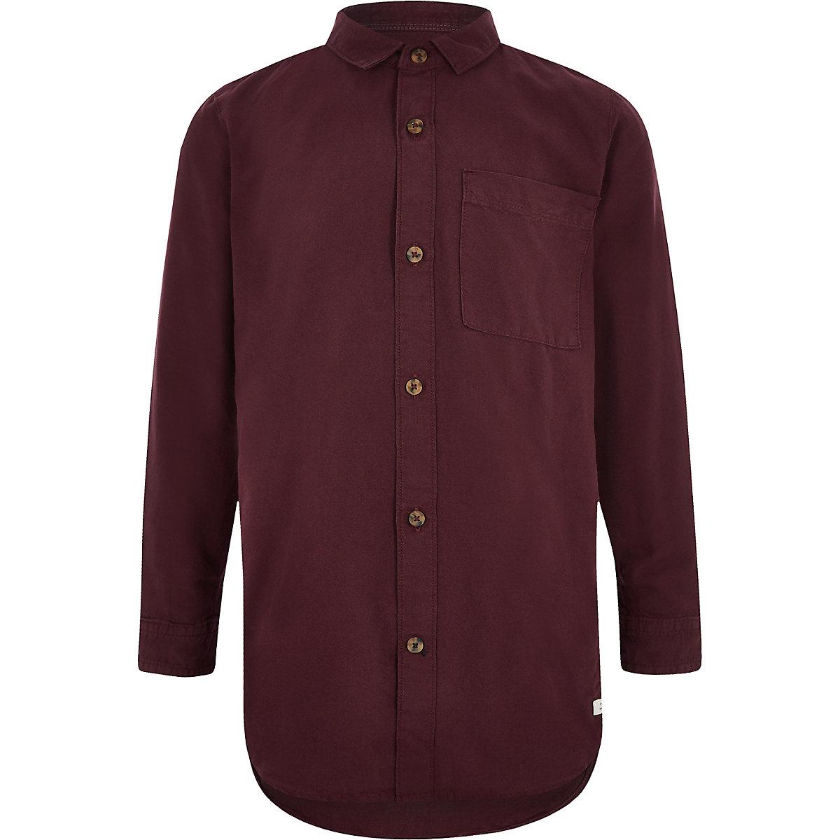 Boys dark red Oxford shirt