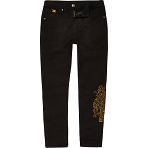 RI 30 boys black Sid embroidered skinny jeans