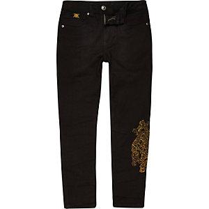 RI 30 - Sid - Zwarte geborduurde skinny jeans voor jongens
