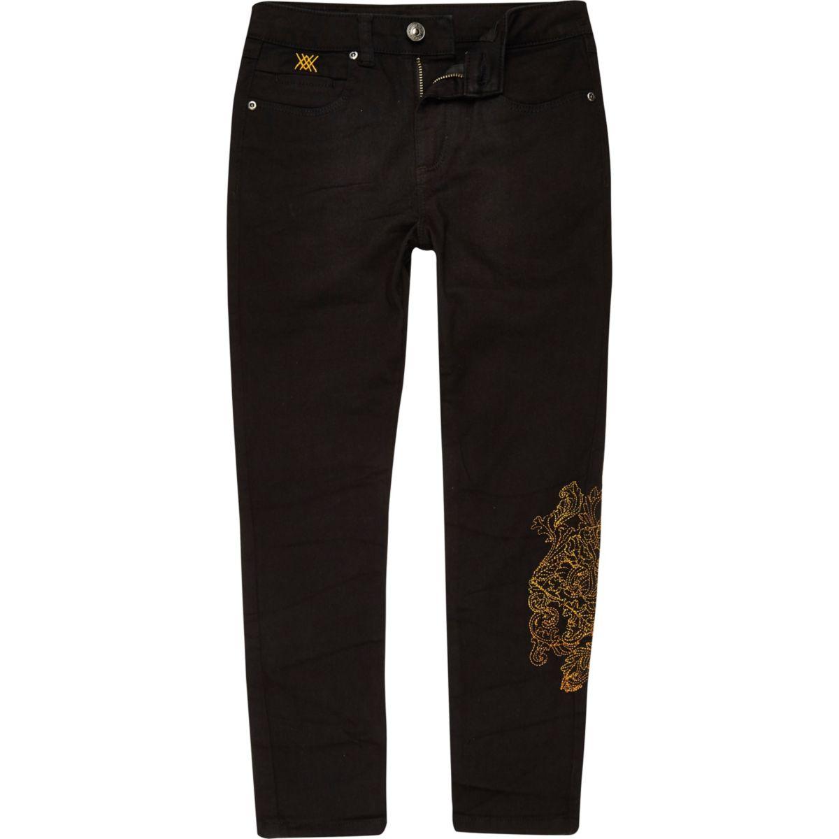 RI 30 boys black Sid embroidered skinny jeans