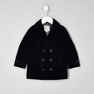 Mini boys navy wool coat