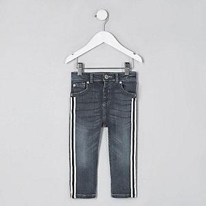 Mini - Sid - Middenblauwe skinny jeans met bies voor jongens