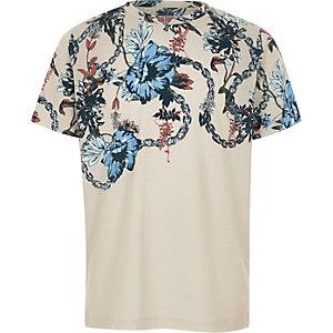 Kiezelkleurig gebloemd T-shirt met kettingprint voor jongens