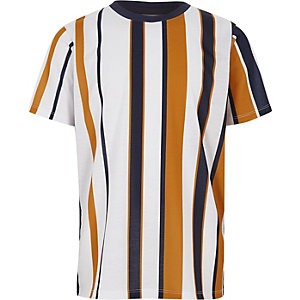 Wit T-shirt met verticale strepen voor jongens