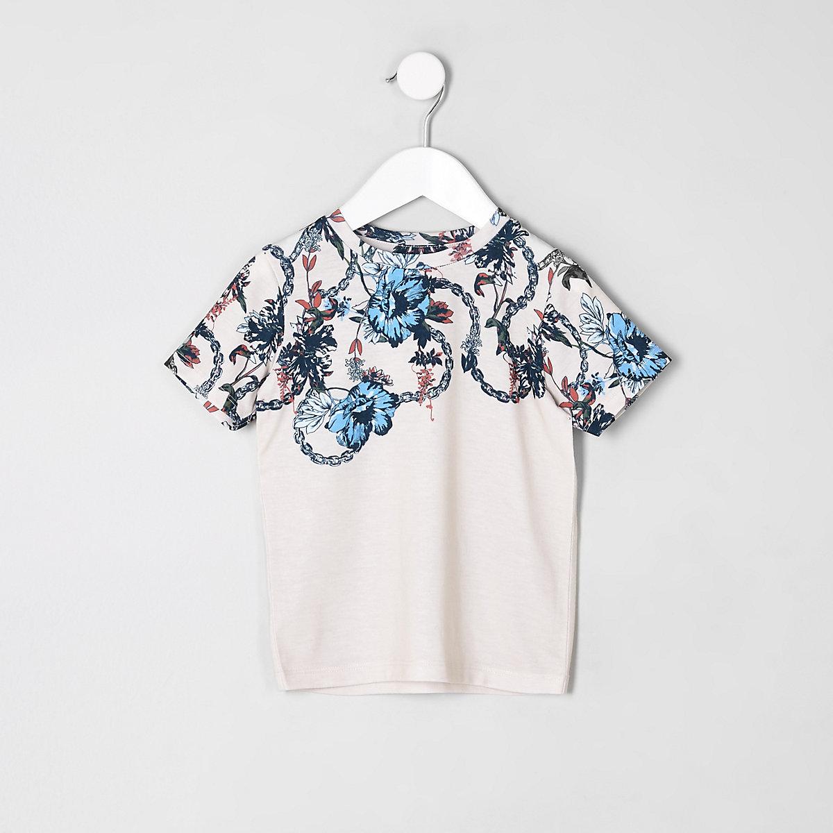 Mini boys stone floral chain print T-shirt
