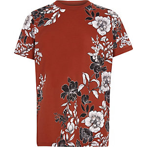 Boys brown floral short sleeve T-shirt