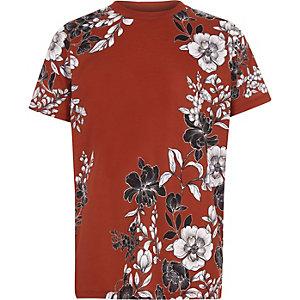 Bruin T-shirt met bloemenprint en korte mouwen voor jongens