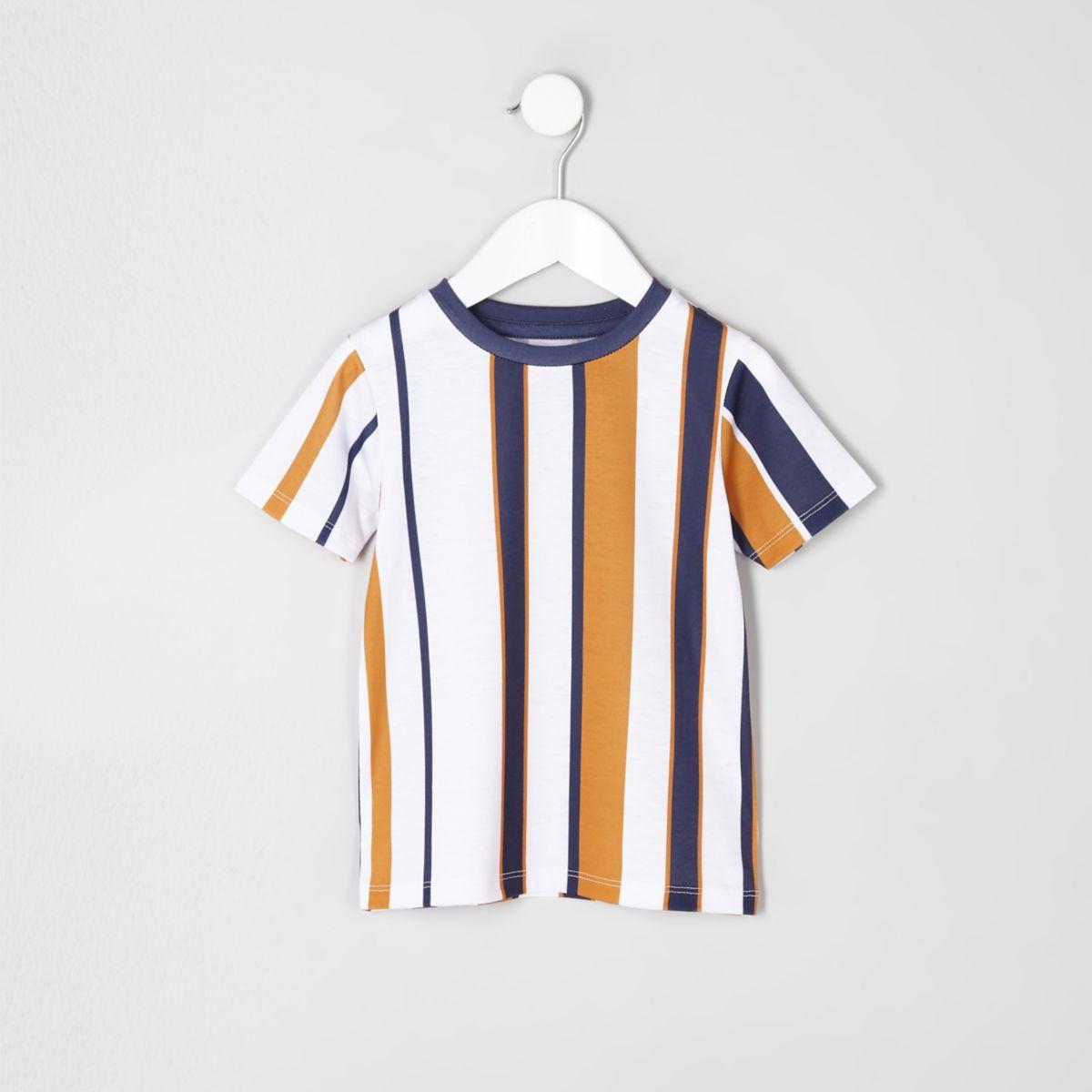 Mini boys white stripe T-shirt