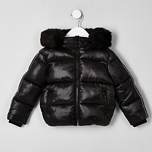 Mini boys black high shine tape puffer jacket