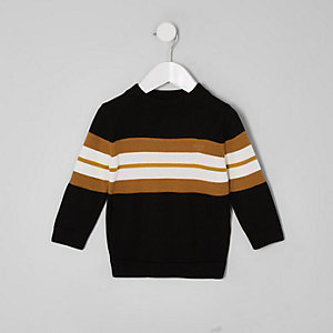 Mini boys black colour block jumper