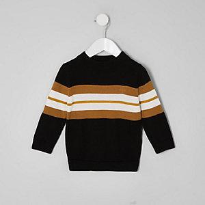 Pull noir color block mini garçon