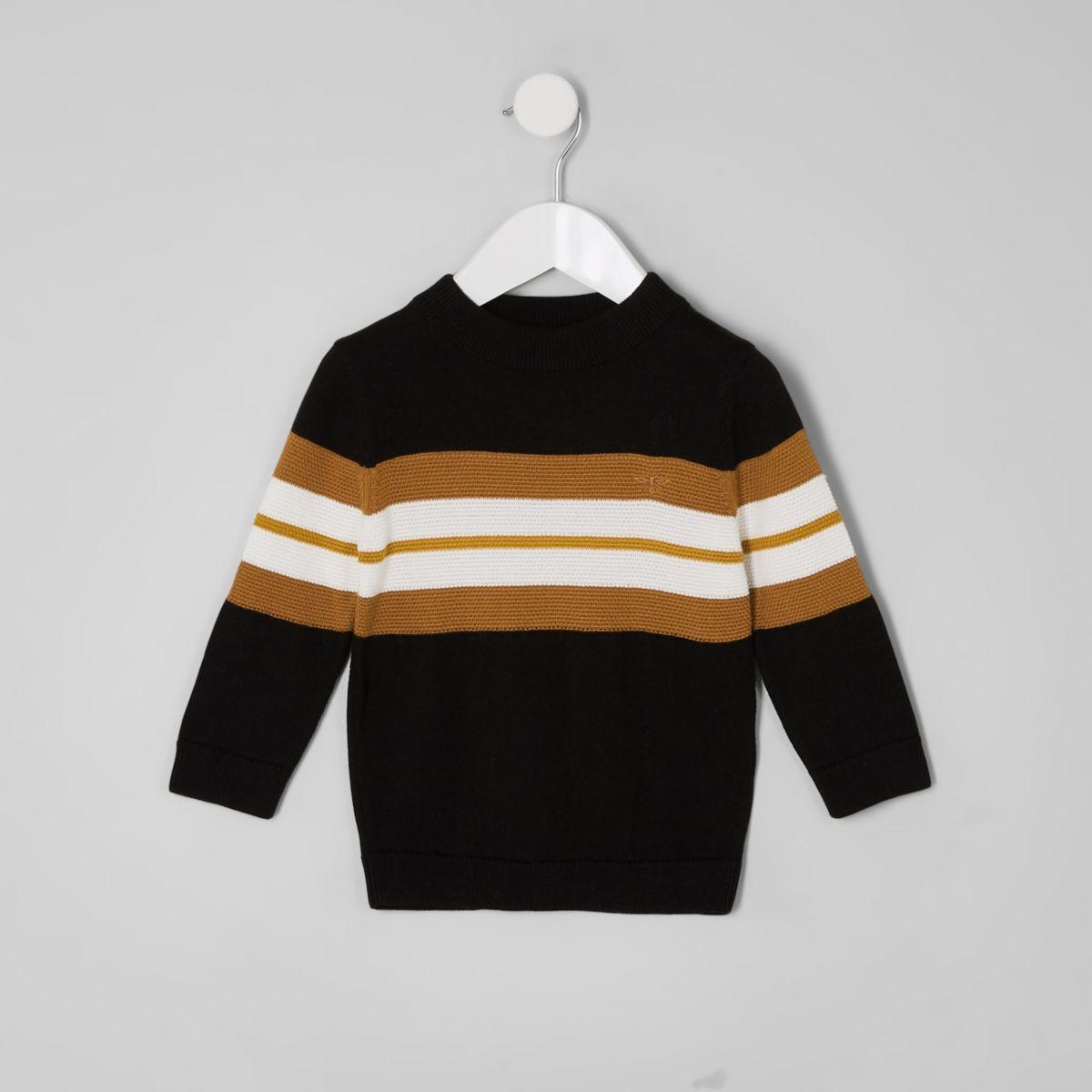 Mini boys black color block sweater