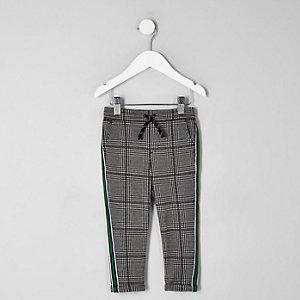 Pantalon à carreaux gris avec bandes latérales mini garçon