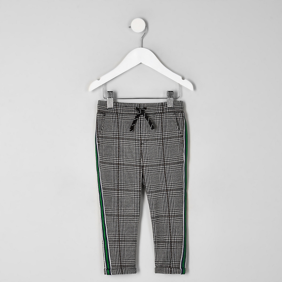 Mini boys grey check tape side trousers