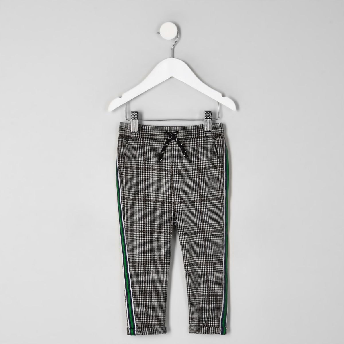 Mini boys grey check tape side pants