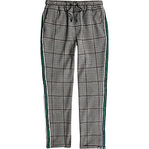 Boys grey check tape side pants