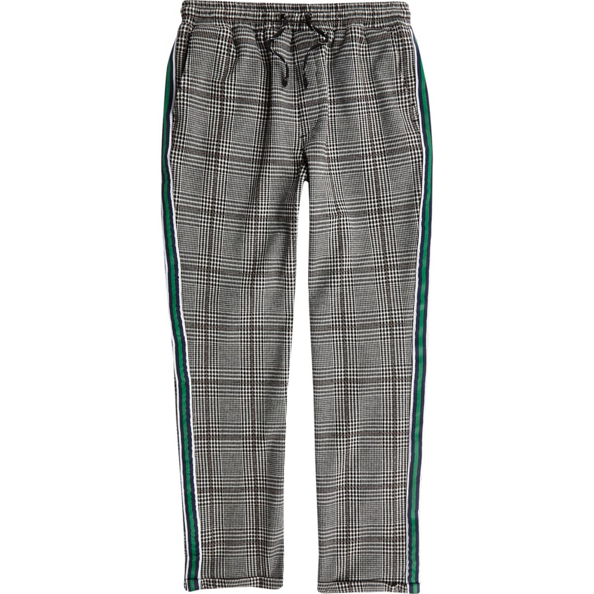 Boys grey check tape side pants